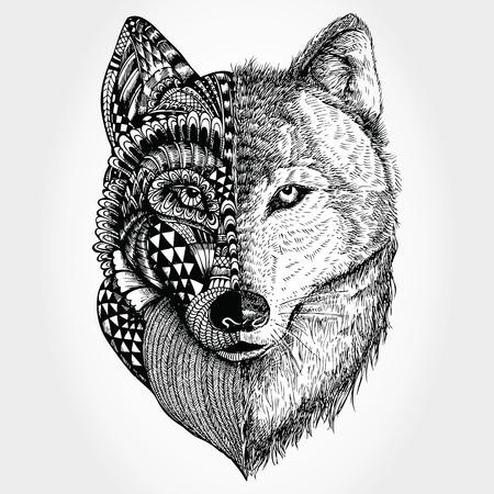 Illustration pour Hand drawn Wolf head stylized - image libre de droit
