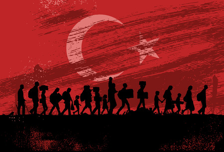 Illustration pour Silhouette of refugees people walking with flag of Turkey as a background - image libre de droit