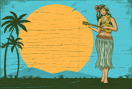 Illustration for Hello summer sign board, Hula girl playing ukulele, vector - Royalty Free Image