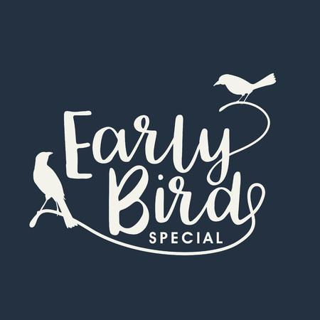 Illustration pour Early bird handwritten lettering, vector - image libre de droit