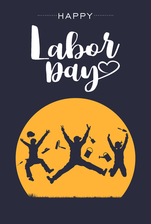 Illustration pour Silhouette of happy workers jumping in the air with text happy labour day, Vector - image libre de droit