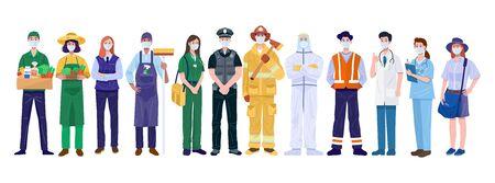 Illustration pour Thank You Essential Workers Concept. Various occupations people wearing face masks. Vector - image libre de droit