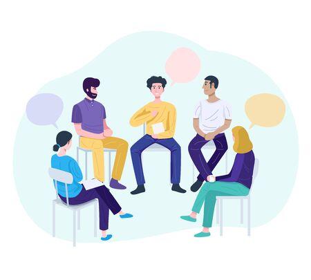 Ilustración de Therapy session concept, Young man sharing his problems at group meeting. - Imagen libre de derechos