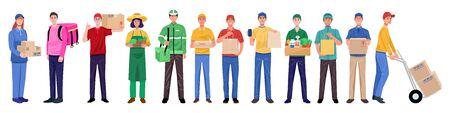 Illustration pour Flat design concept, Set of delivery man in various characters. Vector - image libre de droit
