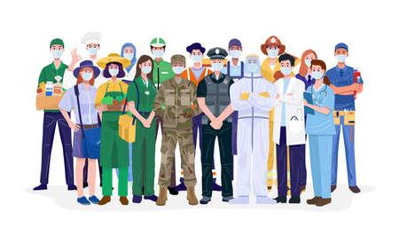 Illustration pour Essential workers, Various occupations people wearing face masks. Vector - image libre de droit