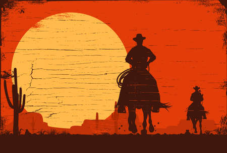 Illustration for Cowboy banners, Rodeo cowboy riding horse, Vector Illustration - Royalty Free Image