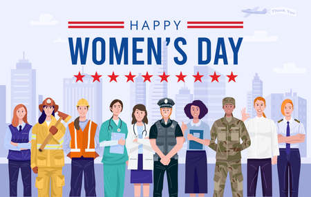 Illustration for International women's day. Group of women with various occupations. Vector - Royalty Free Image