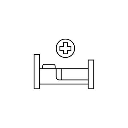 Illustration pour Hospital bed and cross.Flat simple icon illustration - image libre de droit