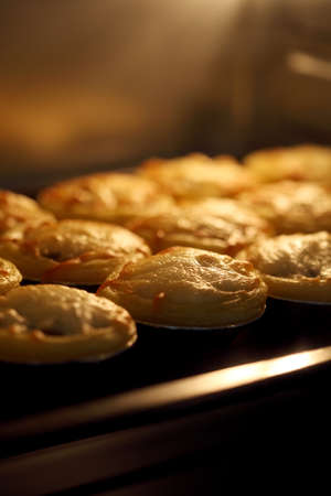 Photo pour Mini pie from meat and mushrooms baking in industrial oven, Pie and pastry wholesale bakery factory - image libre de droit