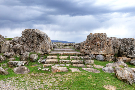 Photo for Located in the capital of the Hittite Corum province in the Black Sea region of Turkey Hattusa is an ancient city located near modern Bogazkale. - Royalty Free Image