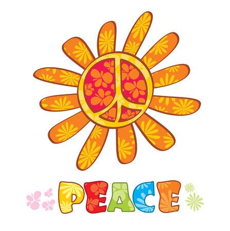Hippie peace symbol, illustration