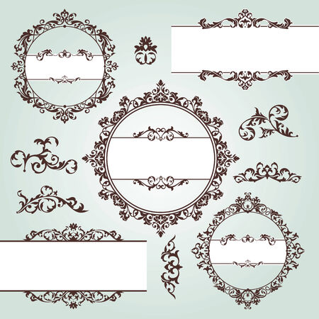 set of vector floral vintage design elements