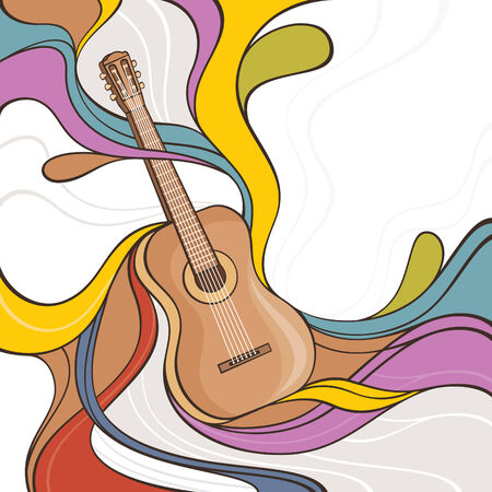 abstract colorful vector illustration with acoustic guitar