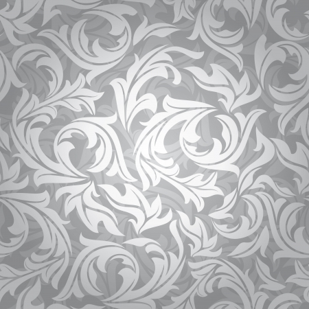 abstract seamless silver floral background illustration