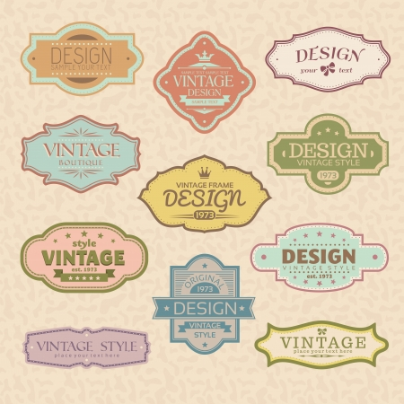 Illustration for set of vintage retro frames  - Royalty Free Image