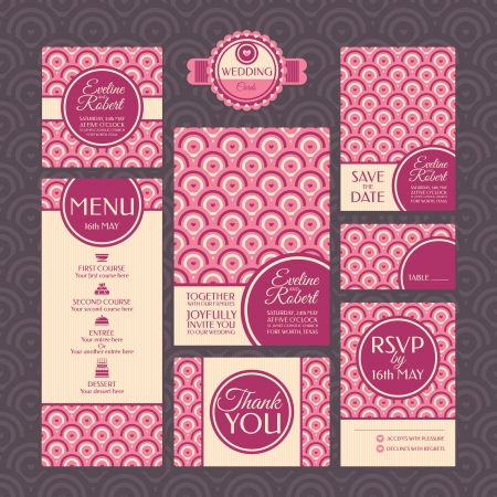 Set of wedding cards. Wedding invitations. Thank you card. Save the date card. Table card. RSVP card and Menu.