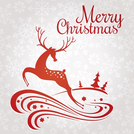 Christmas greeting card with deer vector illustrationのイラスト素材