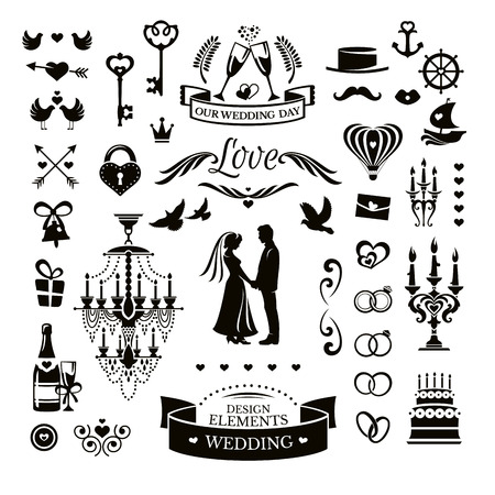 Vector collection of wedding icons and elementsのイラスト素材