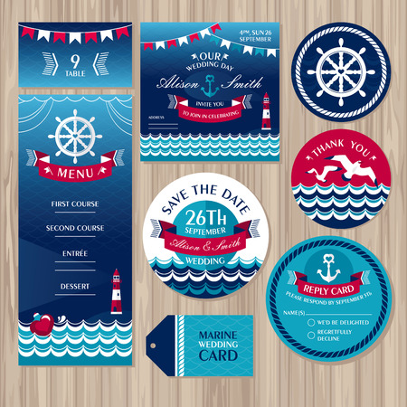 Set of marine wedding cards illustration