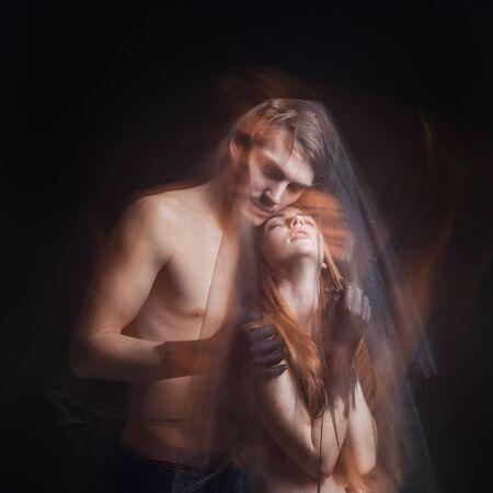 Photo for mystical couple beauty portrait with veil, studio shot, closeup, Technique mixed light - Royalty Free Image