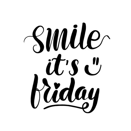 Illustration pour Smile it's friday lettering greeting card. Typographic design isolated on white background. Vector illustration. - image libre de droit