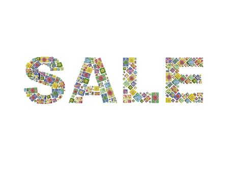 SALE (word made of different sized and coloured gift-boxes)