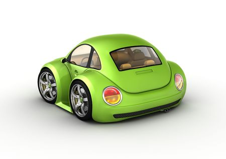 Tiny green car (3d isolated on white background micromachines series)