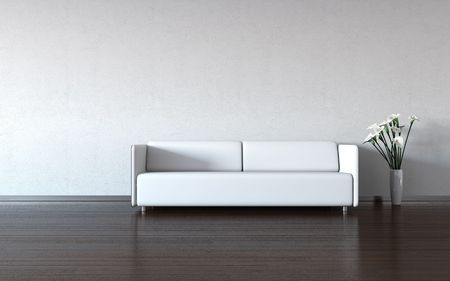 Minimalism: white couch and vase by the wall (3d minimalism HQ interiors with copy spaces series)