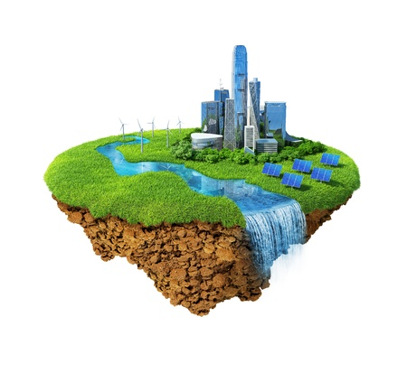 Eco city concept. Cityscape on a lawn with river, waterfall. Fancy island in the air isolated. Detailed ground in the base. Concept of success and happiness, idyllic modern harmony lifestyle.