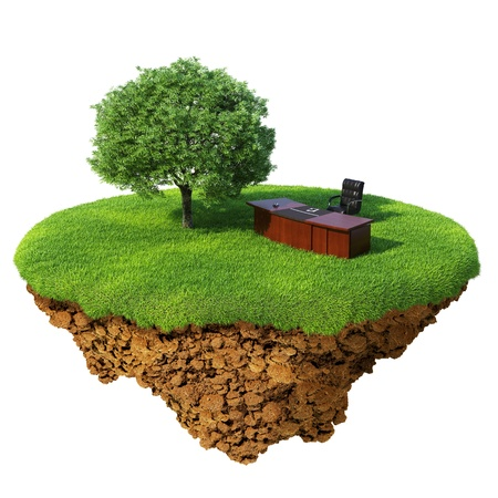 Photo for Lawn with tree, office table and chair on the little fine island / planet. A piece of land in the air. Detailed ground in the base. Concept of success in business, innovation, refresh. - Royalty Free Image