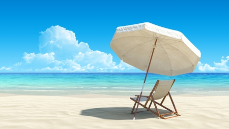 Photo for Beach chair and umbrella on idyllic tropical sand beach. No noise, clean, extremely detailed 3d render. Concept for rest, relaxation, holidays, spa, resort design. - Royalty Free Image