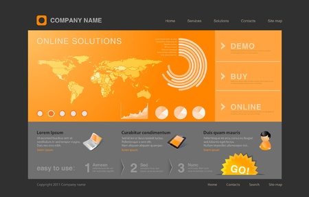 Website template  Infographics World map with graph and diagrams on orange background