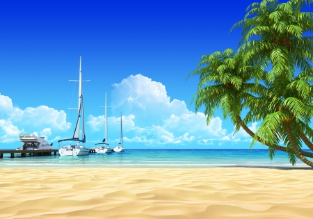 Marina pier and palms on empty idyllic tropical sand beach  No noise, clean, extremely detailed 3d render  Concept for rest, yachting, holidays, resort, spa design or background