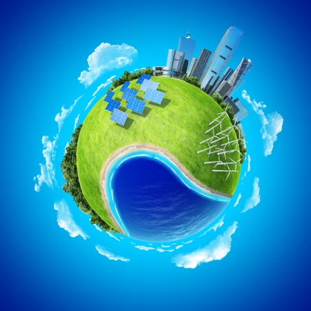 Mini planet concept  City, ocean, forest, wind turbines, solar batteries, sea coast and fresh green field  Earth collection