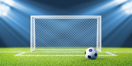 Football  soccer  goals and ball on clean empty green field  Concept for team championship