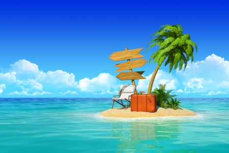 Photo pour Desert tropical island with palm tree, chaise lounge, suitcase and three empty wooden signpost  Concept for rest, holidays, resort, travel  - image libre de droit