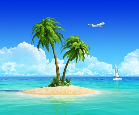Clean sand beach on tropical island with palm tree, also with yacht and airplane on background  Concept for rest, holidays, resort, travel, trip and vacation