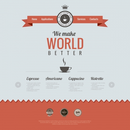Vintage website design template. Coffee theme. Retro style. HTML5