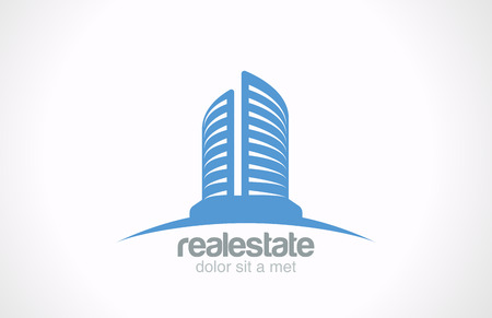 Real Estate Logo vector design template  Skyscraper Business abstract creative concept icon symbol  Realty Building Silhouette sign on horizon  Architect Construction Idea