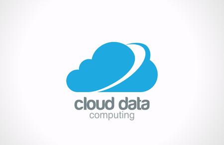 Cloud computing vector logo design  Creative global internet concept Network data transferring icon