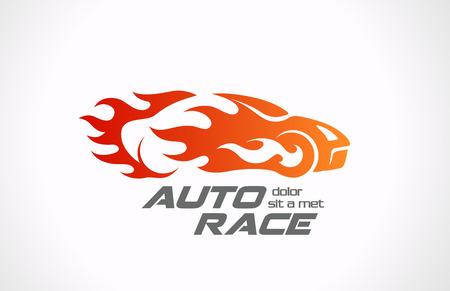 Illustration pour Sport Car Speed Race vector logo design  Fire vehicle in motion Auto rally in flame creative concept  - image libre de droit