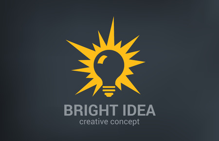 Creative bright new idea vector logo design template. Light bulb shine.