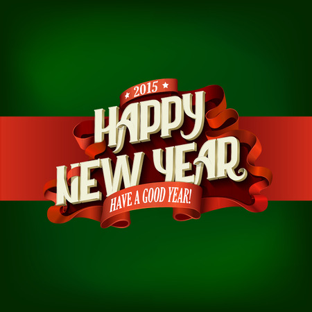 Happy New Year Vintage Typography poster design vector template. Lettering retro style greeting card creative concept.