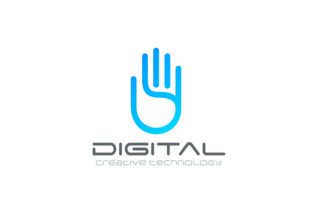 Artificial Intelligence Hand Logo design vector template. Business Technology Security Data Digital Palm Logotype concept icon.