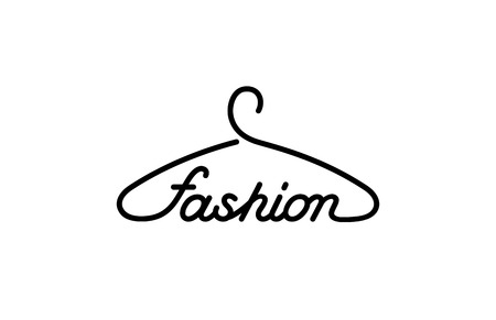 Hanger Fashion text Logo store design vector template. Creative idea for clothes outwear shop Logotype concept icon.
