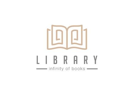 Illustration pour Open Book Logo abstract design vector template lineart style Education Library Magazine Logotype Luxury elegant concept. - image libre de droit