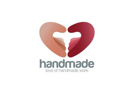 Illustration pour Two Hands as Heart shape Logo Handmade design vector template. Creative work support logotype concept icon. - image libre de droit