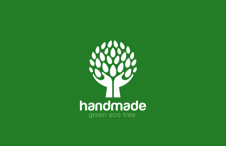 Illustration pour Hands Holding Tree with leaves Logo Abstract circle shape. Eco green natural Farm logotype concept icon. - image libre de droit