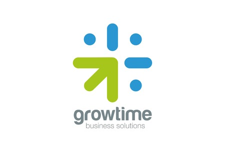 Grow Arrow Clock Logo concept design vector template. Time is money - time to grow - Business idea logotype icon.