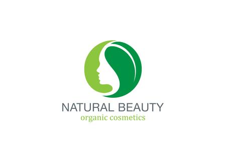 Woman Beauty SPA Fashion Salon Logo circle design vector template. Girl Female Natural Cosmetics make up logotype concept green leave icon.